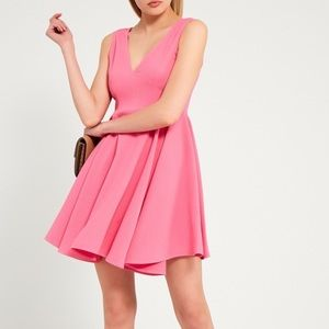 NWT SANDRO FIT AND FLARE PINK SLEEVELESS DRESS